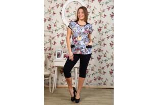 Костюм женский Модница  К-186- джинс букет кулирка