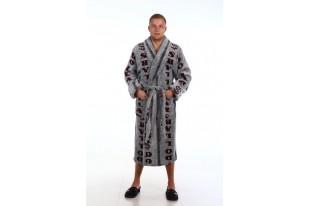 Халат мужской ХВ-004-меланж с бордо велсофт