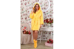 Халат женский короткий капюшон ХВ-0022 Желтый велсофт
