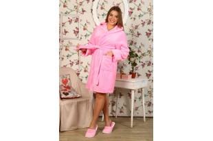 Халат женский короткий капюшон ХВ-0022 Нежно розовый велсофт