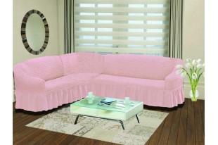 "Чехол на диван угловой левосторонний ""BULSAN"" светло-розовый"