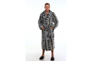 Халат мужской ХВ-004-меланж с хаки велсофт